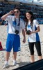 Ed Westwick and  Jessica Szohr during the Celebrity Beach Bowl on February 6th 2010 at the South Beach in Miami Florida 2