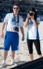 Ed Westwick and  Jessica Szohr during the Celebrity Beach Bowl on February 6th 2010 at the South Beach in Miami Florida 1