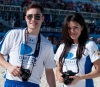 Ed Westwick and  Jessica Szohr during the Celebrity Beach Bowl on February 6th 2010 at the South Beach in Miami Florida 4