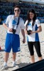 Ed Westwick and  Jessica Szohr during the Celebrity Beach Bowl on February 6th 2010 at the South Beach in Miami Florida 3