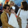 Cameon Diaz seen walking beside Tom Cruise and his wife Katie Holmes and daughter Suri at the Super Bowl on February 7th 2010 at the Sun Life Stadium in Miami Florida 1