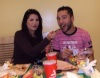 Tunisian student Asmae Mahalaoui of the seventh season photo before star academy eating at a restaurant with a friend