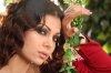 Haifa Wehbe desktop Wallpaper wearing a red dress at a garden like scene 3