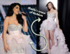 haifa Wehbe fashion diva photo while at star academy seven prime wearing a light pink layered dress
