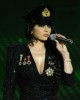 picture on April 9th 2010 from the 8th prime of Star Academy seven of Haifa Wehbe on stage wearing a black jacket and hat in a military style outfit