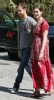 Anne Hathaway seen with her boyfriend Adam Shulman while wearing ared casual maxi dress on April 9th 2010 in Studio City 2