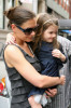 Katie Holmes and daughter Suri Cruise are spotted together on April 11th 2010 as they leave their New York City apartment building 4