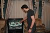 Mahmoud Shokry picture at his house in Cairo as he watches the 24 nagham channel of star academy