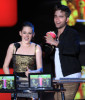 Robert Pattinson and Kristen Stewart on stage during the 2010 MTV Movie Awards held at the Gibson Amphitheatre on June 6th 2010 at Universal Studios in California 6