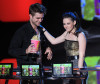 Robert Pattinson and Kristen Stewart on stage during the 2010 MTV Movie Awards held at the Gibson Amphitheatre on June 6th 2010 at Universal Studios in California 2