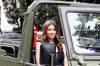 Jessica Biel spotted on June 14th 2010 as she arrives in an offroad army utility vehicle to promote her new film in Paris 2
