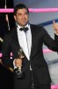 Lebanese singer Wael Kfouri with his award during the 2010 annual Murex dor awards in Lebanon