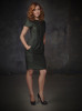 Alyson Hannigan photoshoot for  HOW I MET YOUR MOTHER TV comedy show wearing a green stylish dress