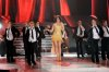 the 2nd prime of star academy season8 on April 8th 2011 picture of Haifa Wehbe wearing a golden dress on stage