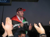 Mohamad Alqaq pictures as he reaches the Amman airport after he was eliminated from star academy 5