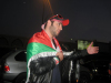 Mohamad Alqaq pictures as he reaches the Amman airport after he was eliminated from star academy 3