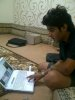 photo of the Kuwaiti student of star academy Abdul Salam after leaving star academy with his laptop