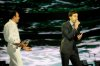 the last prime of star academy 8 on July 15th 2011 picture of Saber Robaei with Ahmad Ezzat onstage